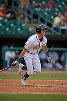 Montgomery Biscuits Josh Lowe (28) hits a single during a Southern League game against the Mobile BayBears on May 2, 2019 at Riverwalk Stadium in Montgomery, Alabama.  Mobile defeated Montgomery 3-1.  (Mike Janes/Four Seam Images)