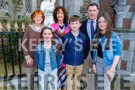 Colm Mehigan former student of Derryquay NS receiving his Confirmation in St John's Church on Saturday. L to r: Avril O'Shea, Brian, Saoirse, Muireann and Catriona Mehigan.