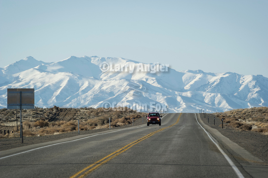 Snow-covered Sonoma Range south from US 95, Paradise Hill, Nev.