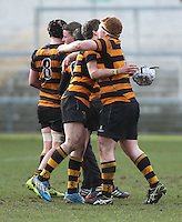 CAI vs RBAI | Tuesday 3rd March 2015<br /> <br /> John Dickson and Joe Finnegan during the 2015 Ulster Schools Cup Semi-Final between Coleraine Inst and RBAI at the Kingspan Stadium, Ravenhill Park, Belfast, Northern Ireland.<br /> <br /> Picture credit: John Dickson / DICKSONDIGITAL