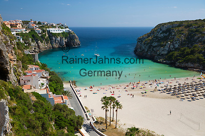 Spain, Menorca: Cala en Porter, beach at South East Coast   Spanien, Menorca: Cala en Porter, Strand an der Suedost-Kueste