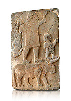 Pictures & images of the South Gate Hittite sculpture stele depicting Hittite Gods. 8th century BC. Karatepe Aslantas Open-Air Museum (Karatepe-Aslantaş Açık Hava Müzesi), Osmaniye Province, Turkey.  Against white background