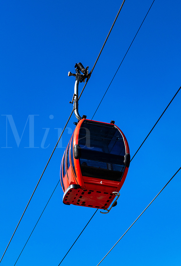 Gondola at ski resort, Vermont, USA.