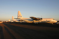 C-130 Hercules aircraft from United nations World Food program, WFP, at the Lokichoggio air base in Kenya. WFP dropped food over South Sudan during the civil war.