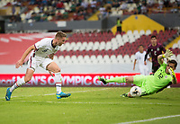 , MEXICO - : Djordje Mihailovic #8 of the United States makes a move towards the goal as Sebastian Jurado #12 of Mexico moves in during a game between  and undefined at  on ,  in , Mexico.