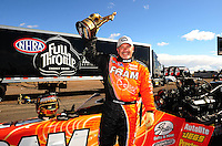 Feb. 22, 2010; Chandler, AZ, USA; NHRA top fuel dragster driver Cory McClenathan celebrates after winning the Arizona Nationals at Firebird International Raceway. The race is being run Monday after weather and darkness led to the cancellation of Sunday race action. Mandatory Credit: Mark J. Rebilas-
