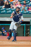Montgomery Biscuits catcher Luke Maile (21) makes a throw to third base against the Chattanooga Lookouts at AT&T Field on July 24, 2014 in Chattanooga, Tennessee.  The Biscuits defeated the Lookouts 6-4. (Brian Westerholt/Four Seam Images)