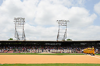 20th Annual Rickwood Classic Game between the Birmingham Barons and Jacksonville Suns on May 27, 2015 at Rickwood Field in Birmingham, Alabama.  Jacksonville defeated Birmingham by the score of 8-2 at the countries oldest ballpark, Rickwood opened in 1910 and has been most notably the home of the Birmingham Barons of the Southern League and Birmingham Black Barons of the Negro League.  (Mike Janes/Four Seam Images)