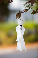 Hand-made ghost decorations hang from a tree on Orchard Street in Belmont, Massachusetts, USA, before Halloween on Sat., Oct. 28, 2017.