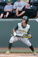 Aaron Payne #20 of the Oregon Ducks bats against the UCLA Bruins at Jackie Robinson Stadium on April 6, 2012 in Los Angeles,California. Oregon defeated UCLA 8-3.(Larry Goren/Four Seam Images)