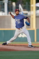 Frisco RoughRiders pitcher Esmerling Vasquez (35) during a Texas League game against the Springfield Cardinals on May 6, 2019 at Dr Pepper Ballpark in Frisco, Texas.  (Mike Augustin/Four Seam Images)