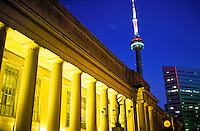 Union Station and the CN Tower illuminated at night