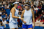 Chen Liang (R) and Zhaoxuan Yang (L) of China talk during the doubles Round Robin match of the WTA Elite Trophy Zhuhai 2017 against Ying-Ying Duan and Xinyun Han of China  at Hengqin Tennis Center on November  04, 2017 in Zhuhai, China. Photo by Yu Chun Christopher Wong / Power Sport Images