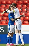 Aberdeen v St Johnstone…18.09.21  Pittodrie    SPFL<br />Captain Zander Clark hugs goal scorer Stevie May at full time<br />Picture by Graeme Hart.<br />Copyright Perthshire Picture Agency<br />Tel: 01738 623350  Mobile: 07990 594431