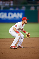 Memphis Redbirds third baseman Patrick Wisdom (5) during a game against the Round Rock Express on April 28, 2017 at AutoZone Park in Memphis, Tennessee.  Memphis defeated Round Rock 9-1.  (Mike Janes/Four Seam Images)