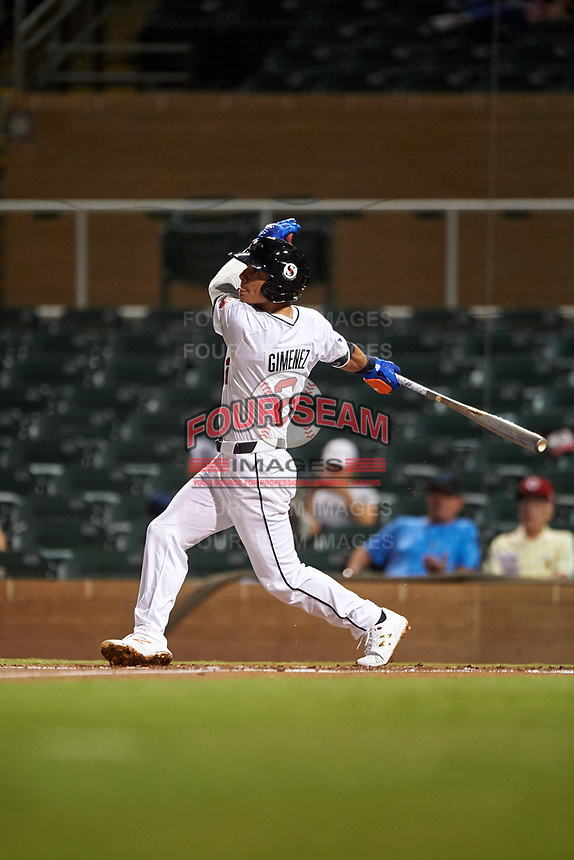 Scottsdale Scorpions Andres Gimenez (2), of the New York Mets organization, at bat during an Arizona Fall League game against the Glendale Desert Dogs on September 20, 2019 at Salt River Fields at Talking Stick in Scottsdale, Arizona. Scottsdale defeated Glendale 3-2. (Zachary Lucy/Four Seam Images)