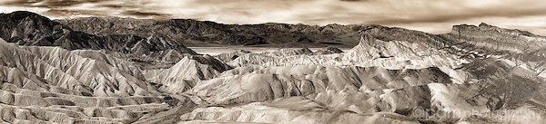 Panoramic monochrome image of Zabriskie Point in Death Valley