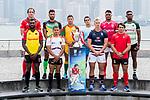 All 28 Men's captains from the Cathay Pacific/HSBC Hong Kong Sevens 2017 pose for photos against Hong Kong Island skyline, prior to the HSBC Hong Kong Rugby Sevens 2017 on 05 April 2017 in Tsim Sha Tsui, Hong Kong, China. Photo by Marcio Rodrigo Machado / Power Sport Images