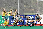 Japanese team players defend a penalty corner during Samsung Women's World Cup Hockey Pool B match between Japan and Australia at Club de Campo in Madrid, Monday 02 October, 2006. (ALTERPHOTOS/Alvaro Hernandez).