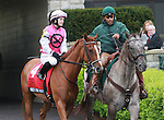 15 April 2011.  #4 Workin for Hops and Rosie Napravnik finish second in the Makers Mark Mile.
