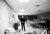 Seneca, South Carolina.USA.February 2, 2004..One day before the polls open in South Carolina Senator John Edwards has a rally in his birth town attened by his parents, wife and two childern. n a holding room he waits nerviously for his introduction....Seneca Institute Family Life Center