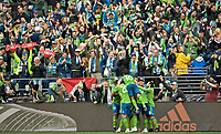 SEATTLE, WA - NOVEMBER 10: Seattle Sounders forward Raul Ruidiaz #9 celebrates after scoring a goal during a game between Toronto FC and Seattle Sounders FC at CenturyLink Field on November 10, 2019 in Seattle, Washington.