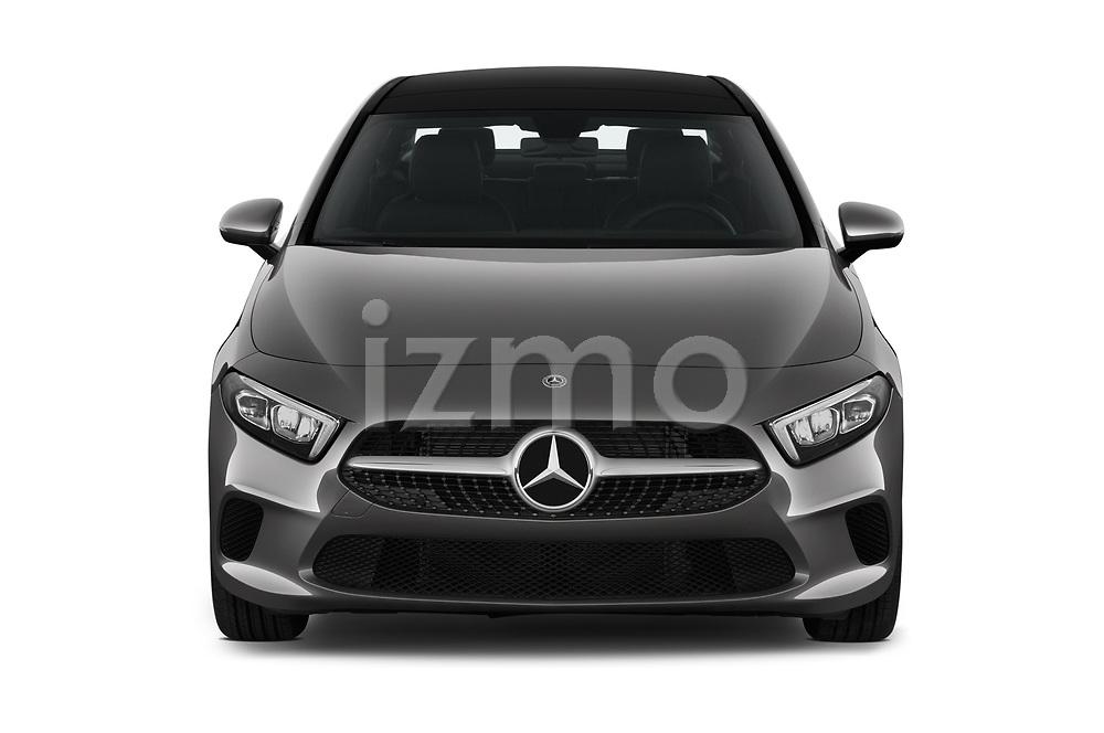 Car photography straight front view of a 2019 Mercedes Benz A Class A 200 4 Door Sedan