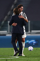 Calcio, Serie A: Juventus - Sampdoria, Turin, Allianz Stadium, September 20, 2020.<br /> Juventus' coach Andrea Pirlo (l) celebrates with Adrien Rabiot (r) after winning 3-0 the Italian Serie A football match between Juventus and Sampdoria at the Allianz stadium in Turin, September 20,, 2020.<br /> UPDATE IMAGES PRESS/Isabella Bonotto