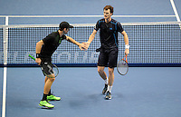 Jamie Murray (SCO) and John Peers (AUS) celebrate a point against Simone Bolelli (ITA) and Fabio Fognini (ITA) during Day One of the Barclays ATP World Tour Finals 2015 played at The O2, London on November 15th 2015