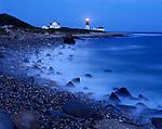 Rhode Island Sound, RI<br /> Point Judith Lighthouse (1857) and surf at dusk, Narraganset
