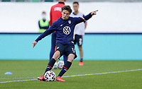 ST. GALLEN, SWITZERLAND - MAY 30: Brenden Aaronson #11 of the United States warming up during a game between Switzerland and USMNT at Kybunpark on May 30, 2021 in St. Gallen, Switzerland.