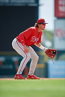 Philadelphia Phillies Alec Bohm (18) during a Florida Instructional League game against the Baltimore Orioles on October 4, 2018 at Ed Smith Stadium in Sarasota, Florida.  (Mike Janes/Four Seam Images)