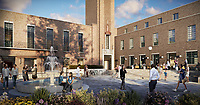 BNPS.co.uk (01202) 558833. <br /> Pic: Savills/BNPS<br /> <br /> Pictured: Hornsey Town Hall broadway. <br /> <br /> Apartments in the grounds of an iconic building where Queen first appeared in concert and the TV series The Crown and Whitechapel were filmed  have gone on sale.<br /> <br /> The new owners will live alongside Hornsey Town Hall, which has appeared in a string of movies and TV programmes including Killing Eve.<br /> <br /> Rock band Queen performed their first concert there in 1971 as a supporting band and part of the 2018 film Bohemian Rhapsody starring Rami Malek was made there.