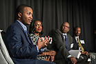 "Jan. 19, 2015; Panelist Demetrius Murphy speaks during the Martin Luther King, Jr. Day dinner and panel discussion, ""Exploring Our History and Our Future: 70 Years of Black Student and Alumni Experience at Notre Dame, held at Legends. (Photo by Barbara Johnston/University of Notre Dame)"