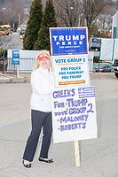 Super Tuesday Voting - Trump supporters - West Roxbury MA - 3 Mar 2020