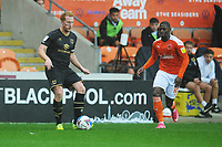 Milton Keynes Dons' Dean Lewington under pressure from Blackpool's Sullay Kaikai<br /> <br /> Photographer Kevin Barnes/CameraSport<br /> <br /> The EFL Sky Bet League One - Blackpool v Milton Keynes Dons - Saturday 24 October 2020 - Bloomfield Road - Blackpool<br /> <br /> World Copyright © 2020 CameraSport. All rights reserved. 43 Linden Ave. Countesthorpe. Leicester. England. LE8 5PG - Tel: +44 (0) 116 277 4147 - admin@camerasport.com - www.camerasport.com