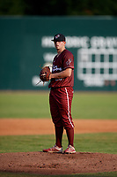 Macon Bacon pitcher Matt Litwicki (35) during a Coastal Plain League game against the Savannah Bananas on July 15, 2020 at Grayson Stadium in Savannah, Georgia.  (Mike Janes/Four Seam Images)