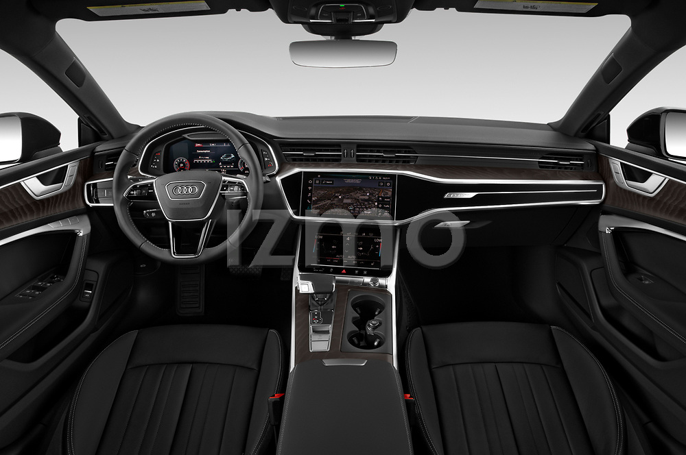 Stock photo of straight dashboard view of 2020 Audi A7 Premium-Plus 5 Door Hatchback Dashboard