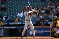 Jordan Vujovich (27) of the Oklahoma Sooners at bat against the Missouri Tigers in game four of the 2020 Shriners Hospitals for Children College Classic at Minute Maid Park on February 29, 2020 in Houston, Texas. The Tigers defeated the Sooners 8-7. (Brian Westerholt/Four Seam Images)