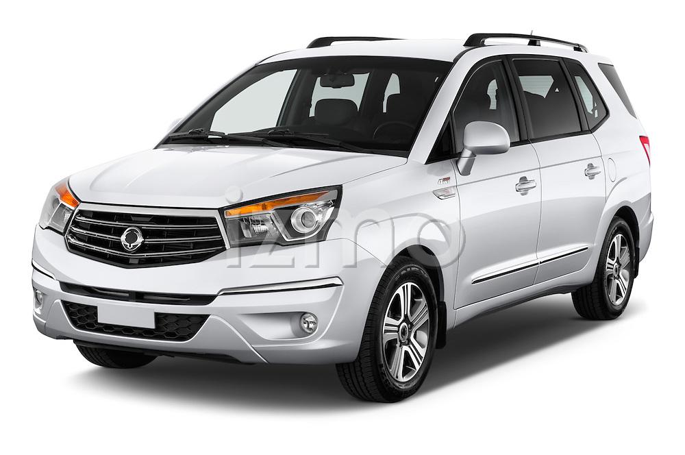 2014 Ssangyong Rodius Sapphire 5 Door Minivan Angular Front stock photos of front three quarter view