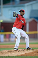 Batavia Muckdogs relief pitcher Edison Suriel (1) during a NY-Penn League game against the Auburn Doubledays on June 14, 2019 at Dwyer Stadium in Batavia, New York.  Batavia defeated 2-0.  (Mike Janes/Four Seam Images)