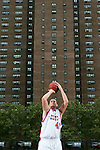 Kevin Love (42) shoots a free throw during the Elite 24 Hoops Classic game on September 1, 2006 held at Rucker Park in New York, New York.  The game brought together the top 24 high school basketball players in the country regardless of class or sneaker affiliation.