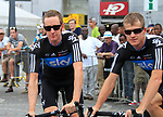 Sky Procycling team leader Bradley Wiggins (GBR) and Michael Rogers (AUS) at the Team Presentation Ceremony before the 2012 Tour de France in front of The Palais Provincial, Place Saint-Lambert, Liege, Belgium. 28th June 2012.<br /> (Photo by Eoin Clarke/NEWSFILE)