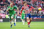 Atletico de Madrid Antoine Griezmann and Deportivo Alaves Victor Laguardia during La Liga match between Atletico de Madrid and Deportivo Alaves at Wanda Metropolitano in Madrid, Spain. December 08, 2018. (ALTERPHOTOS/Borja B.Hojas)