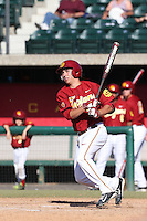 Stephen Dubb (21) of the Southern California Trojans bats during a game against the Oregon Ducks at Dedeaux Field on April 18, 2015 in Los Angeles, California. Oregon defeated Southern California, 15-4. (Larry Goren/Four Seam Images)