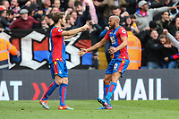 Yohan Cabaye of Crystal Palace and Andros Townsend of Crystal Palace celebrate the opening goal during the Premier League match between Crystal Palace and Watford at Selhurst Park, London, England on 18 March 2017. Photo by David Horn / PRiME Media Images.