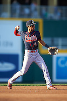 Peoria Chiefs shortstop Oscar Mercado (4) throws to first during a game against the Lansing Lugnuts on June 6, 2015 at Cooley Law School Stadium in Lansing, Michigan.  Lansing defeated Peoria 6-2.  (Mike Janes/Four Seam Images)