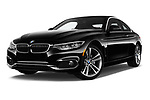 Stock pictures of low aggressive front three quarter view of a 2018 BMW 4 Series 430i 2 Door Coupe