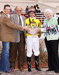 January 2010: Robby Albarado and owner James C. Spence react after winning the Col. E.R. Bradley Handicap at the Fairgrounds in New Orleans, La.