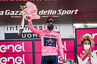 Maglia Rosa / Pink Jersey / GC Leader Egan Bernal (COL/Ineos Grenadiers) on the podium<br /> <br /> 104th Giro d'Italia 2021 (2.UWT)<br /> Stage 19 from Abbiategrasso to Alpe di Mera (Valsesia)(176km)<br /> <br /> ©kramon